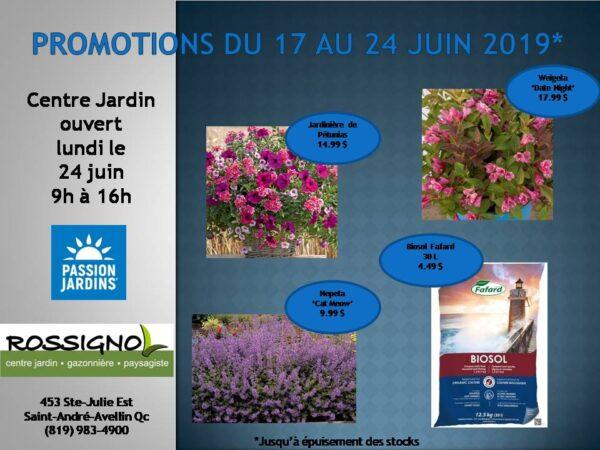 Promotion du 17 au 24 juin 2019